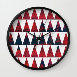 Red and White marble sharp triangles Wall Clock