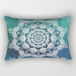 Aqua Spirit Mandala Turquoise Blue Green White Rectangular Pillow