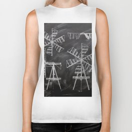 steampunk western country chalkboard art agriculture farm windmill patent print Biker Tank