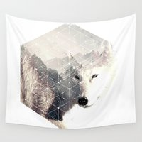 bad wolf Wall Tapestries featuring bad white wolf by KrisLeov