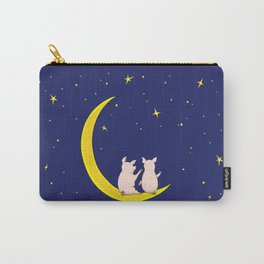 happy pair of pigs in love on the moon Carry-All Pouch