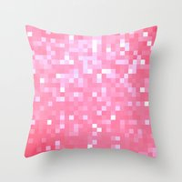 bubblegum Throw Pillows featuring Bubblegum Pink Pixels by 2sweet4words Designs
