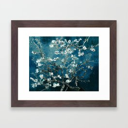 Van Gogh Almond Blossoms : Dark Teal Framed Art Print
