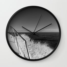 Sailing in the wind through the waves, Boat, Black and White photography #Society6 Wall Clock