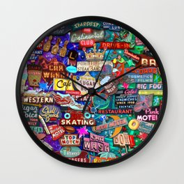 Vintage Neon Signs Wall Clock