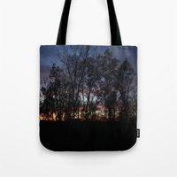 rileigh smirl Tote Bags featuring Rainbow Sunset by Rileigh Smirl