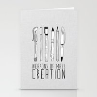 doodle Stationery Cards featuring weapons of mass creation by Bianca Green