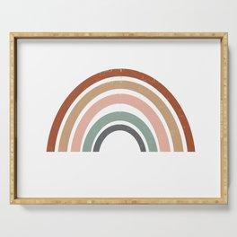 Rainbow earth tone cute kids room decor muted rainbow art print for nursery Serving Tray