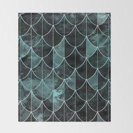 Mermaid scales. Mint and black. Throw Blanket