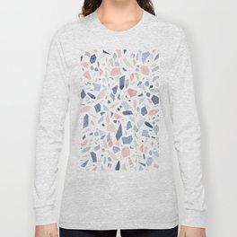 Terrazzo vintage pastel blue pink Long Sleeve T-shirt