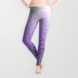 Faded purple and white swirls doodles Leggings