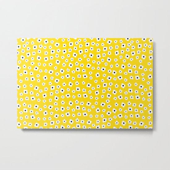 White Yellow Spring Flower Pattern Metal Print