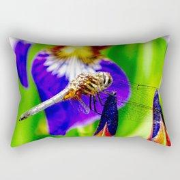 Dragonfly on purple English iris Rectangular Pillow