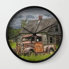 Old Vintage Pickup in front of an Abandoned Farm House Wall Clock