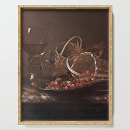 Adriaen Coorte - Strawberries and red currants with a roemer on a marble ledge Serving Tray
