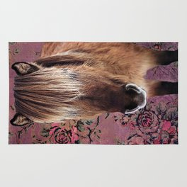 Icelandic pony with rosy posies Rug