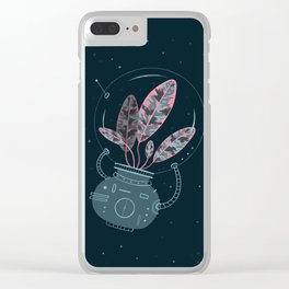 Space Plant Clear iPhone Case