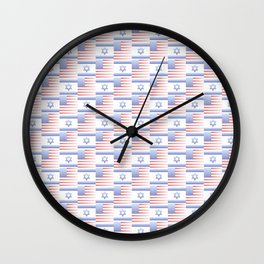 Mix of flag : usa and israel 2 with color gradient Wall Clock