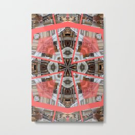 Living Coral Pantone Colour of the Year 2019 pattern decoration with neoclassical architecture Metal Print