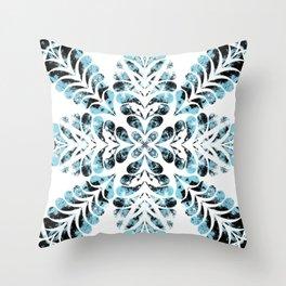 Blue feather flourish flowery pattern Throw Pillow