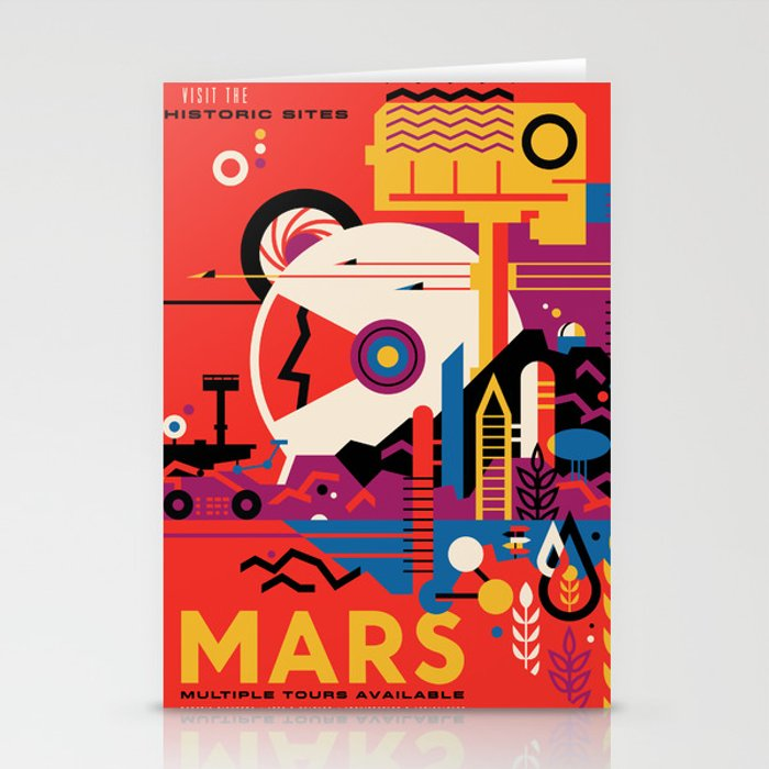 NASA Retro Space Travel Poster #9 Mars Stationery Cards