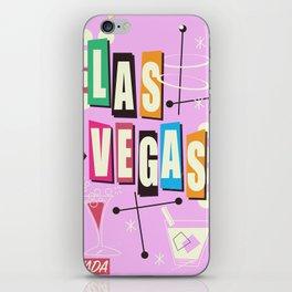 Vintage Las Vegas Vacation print pink version iPhone Skin