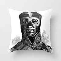 wrestling Throw Pillows featuring WRESTLING MASK 10 by DIVIDUS