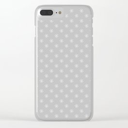 White on Gray Snowflakes Clear iPhone Case