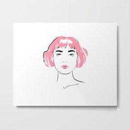 pink hair, don't care Metal Print
