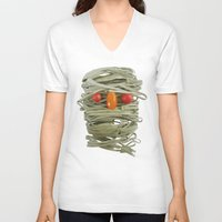 pasta V-neck T-shirts featuring A Thing of the Pasta by Marco Angeles