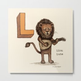 Animals & Instruments ABCs – L Metal Print