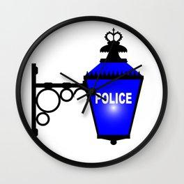 Police Station Blue Light Wall Clock