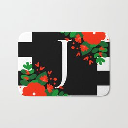 J - Monogram Black and White with Red Flowers Bath Mat