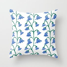 Folksy Bluebell Vines Throw Pillow
