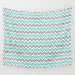 Aqua Turquoise Blue and Grey Gray Chevron Wall Tapestry