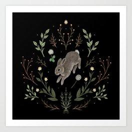 Hoppy Botanical Bunny Art Print