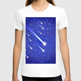 Space background with stars and comets T-shirt