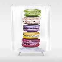macarons Shower Curtains featuring Macarons by Bridget Davidson
