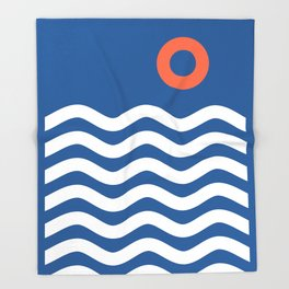 Nautical 03 Seascape Throw Blanket