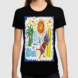 Mid Century Modern Hawaiian Tiki Toast blue border T-shirt