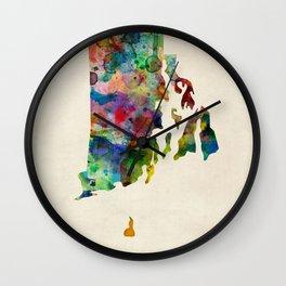 Rhode Island Watercolor Map Wall Clock