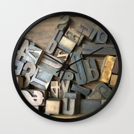 Vintage Wooden Letter Press Letters Wall Clock