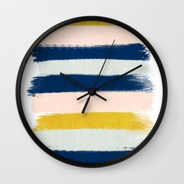 Esther - navy mint gold painted stripes brushstrokes minimal modern canvas art painting Wall Clock