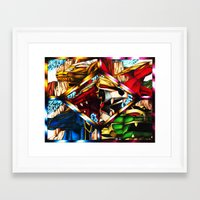 power rangers Framed Art Prints featuring Power Rangers Thunderzords by sn33ky
