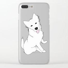 White Pupper Clear iPhone Case
