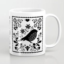 Woodland Folk Black And White Blue Bird Tile Coffee Mug