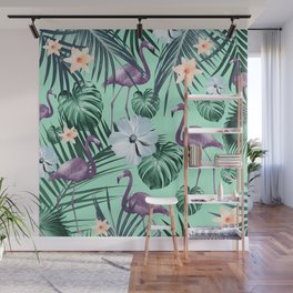 Tropical Flamingo Flower Jungle #5 #tropical #decor #art #society6 Wall Mural