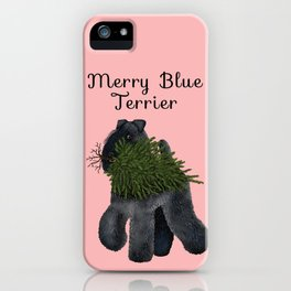 Merry Blue Terrier (Pink Background) iPhone Case