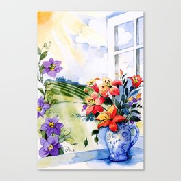 floral on sill watercolor Canvas Print