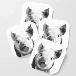 Black and white pig portrait Coaster